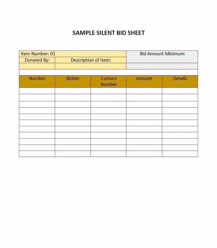 Sample Silent Auction Bid Sheet Inspirational 16 Silent Auction Bid Sheet Templates Free Sample Templates