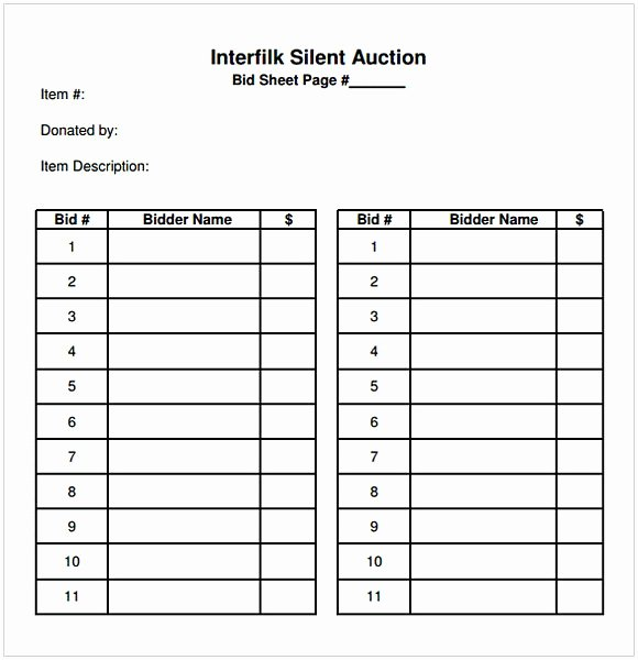 Sample Silent Auction Bid Sheet Inspirational Silent Auction Bid Sheet