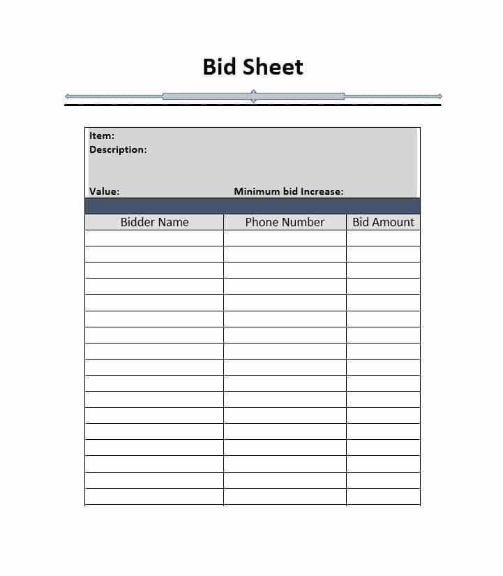 Sample Silent Auction Bid Sheet Inspirational Silent Auction Bid Sheet Template Free Word Printable