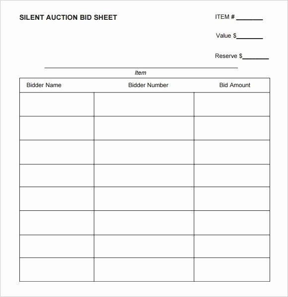 Sample Silent Auction Bid Sheet Lovely Silent Auction Bid Sheet Printable