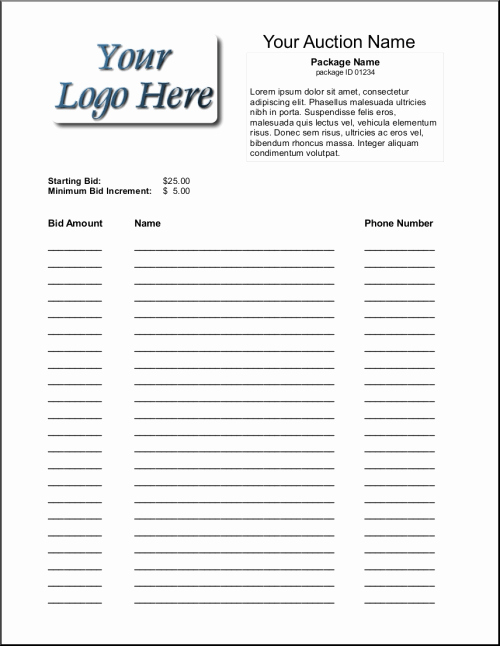 Sample Silent Auction Bid Sheet Unique 6 Silent Auction Bid Sheet Templates Free Sample Templates