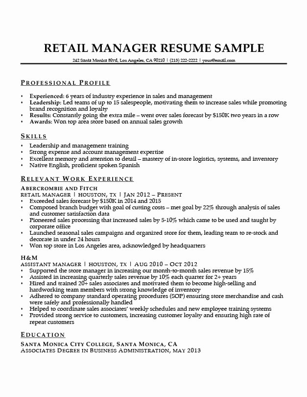 Sample Store Manager Resume Awesome Retail Manager Resume Sample & Writing Tips