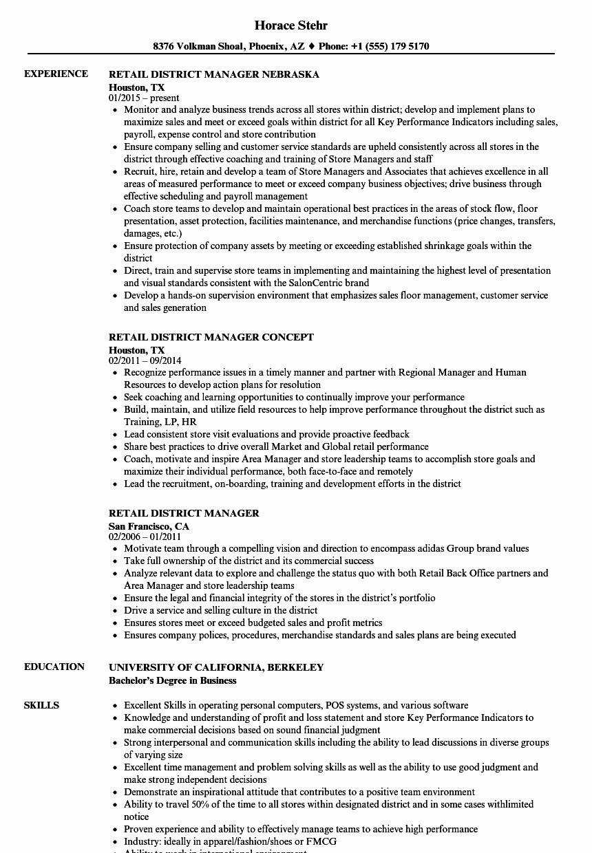 Sample Store Manager Resume Best Of Retail District Manager Resume Samples