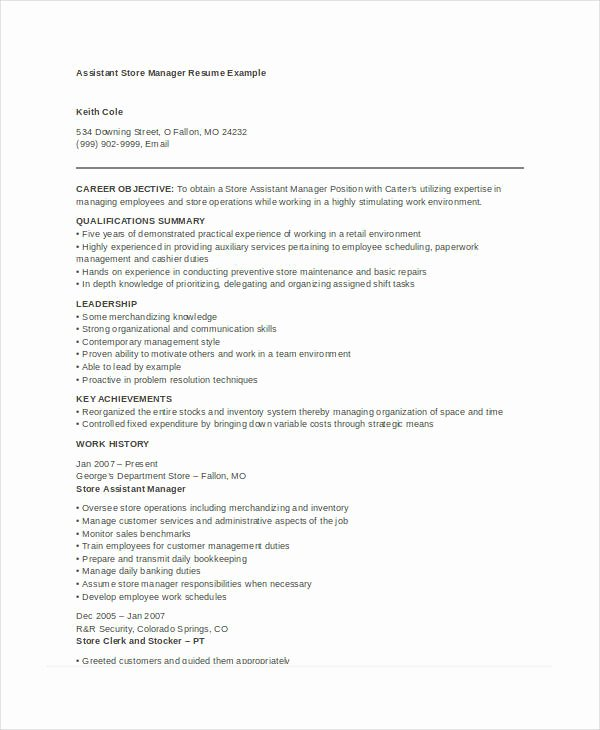 Sample Store Manager Resume Best Of Retail Store Manager Resume Sample