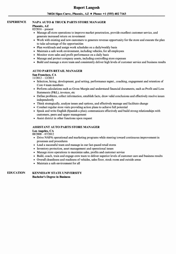 Sample Store Manager Resume Elegant New Parts Manager Resume