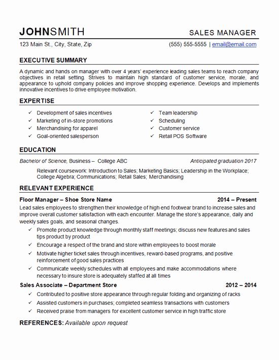 Sample Store Manager Resume Luxury Retail Manager Resume Example Department Store