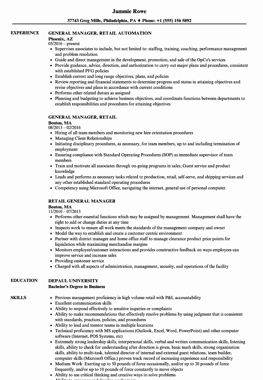 Sample Store Manager Resume New Retail General Manager Resume Samples