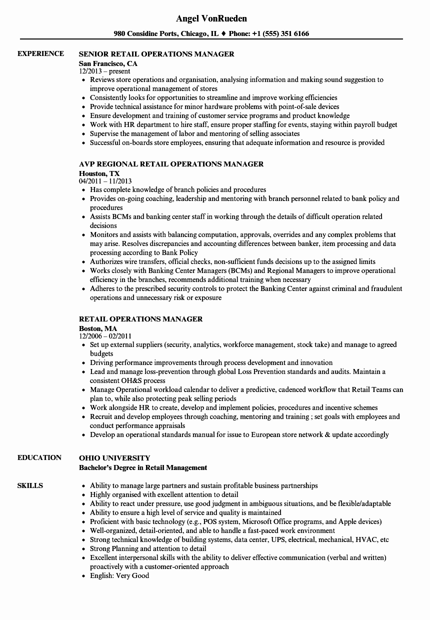 Sample Store Manager Resume New Retail Operations Manager Resume Samples