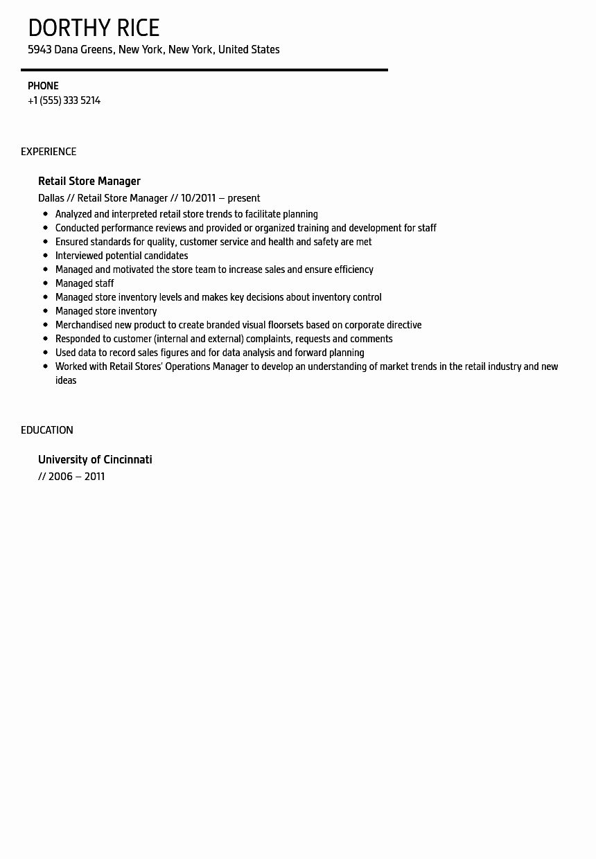 Sample Store Manager Resume Unique Retail Store Manager Resume Sample