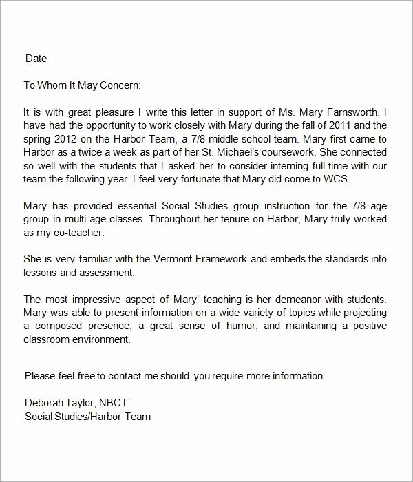 Sample Teacher Recommendation Letter Elegant 13 Letters Of Re Mendation for Teacher