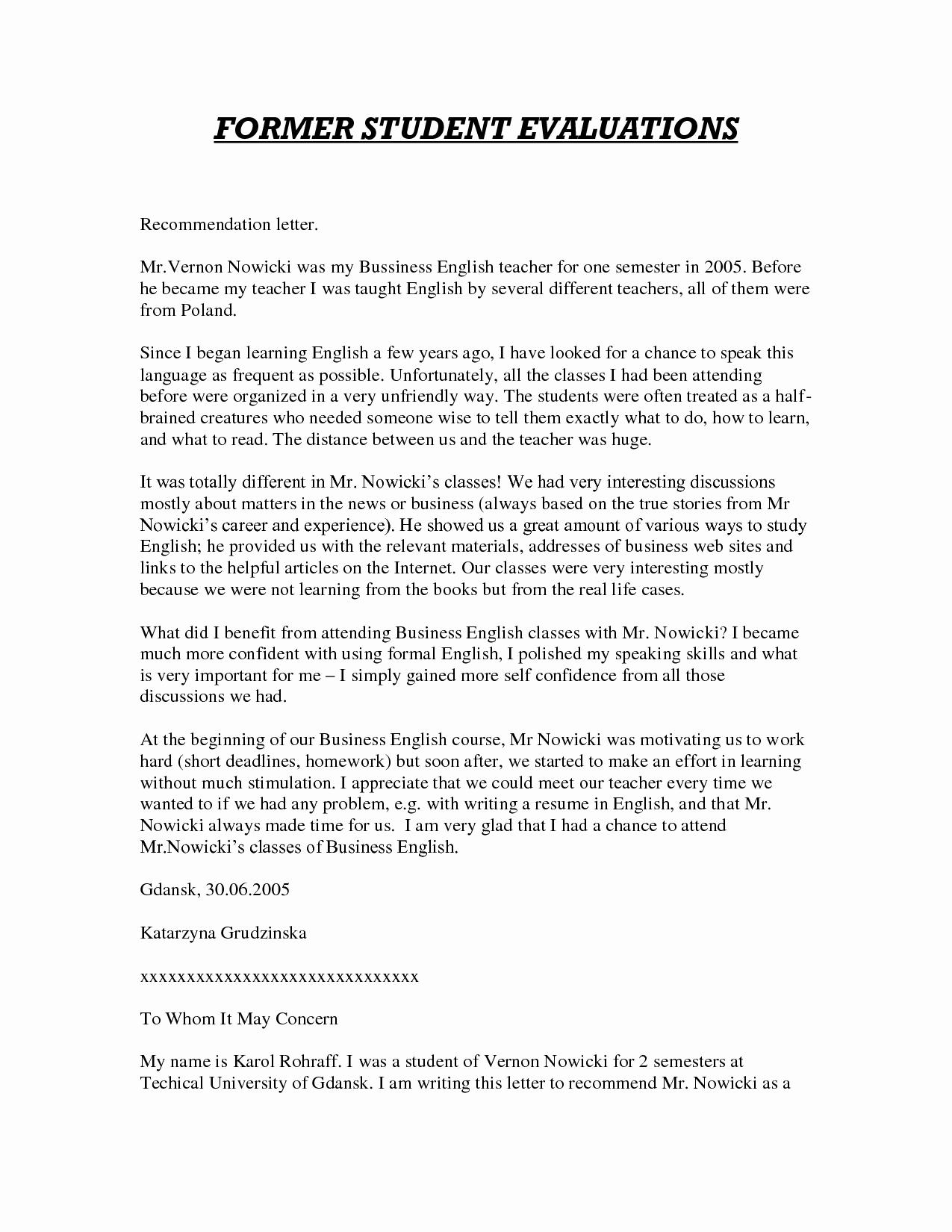 Sample Teacher Recommendation Letter Inspirational Sample Letter Of Re Mendation for Teacher