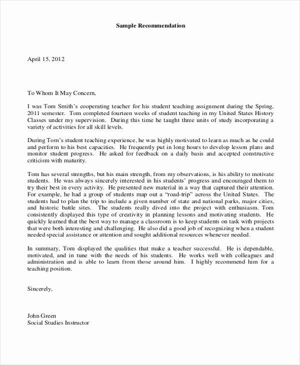 Sample Teacher Recommendation Letter Luxury Sample Teacher Letters Of Re Mendation 6 Free