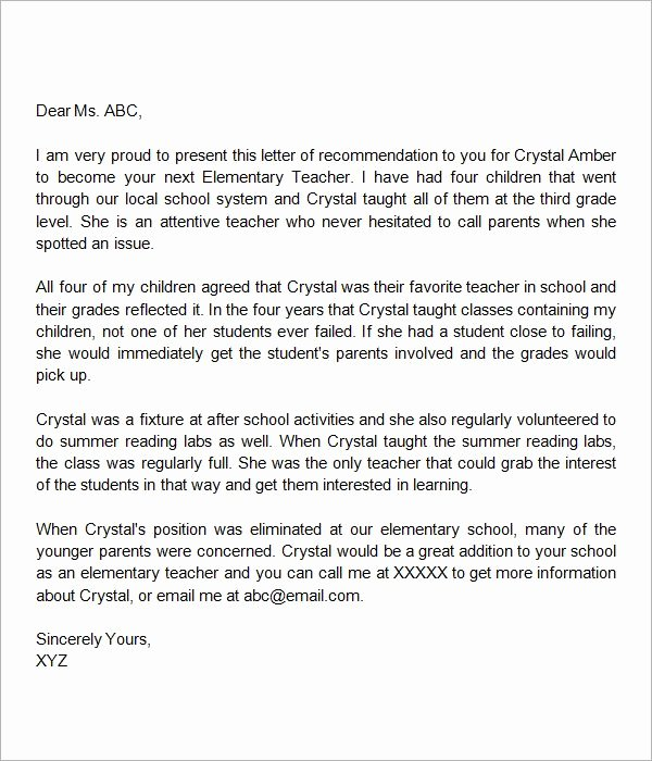 Sample Teacher Recommendation Letter Unique Letter Of Re Mendation Elementary Teacher