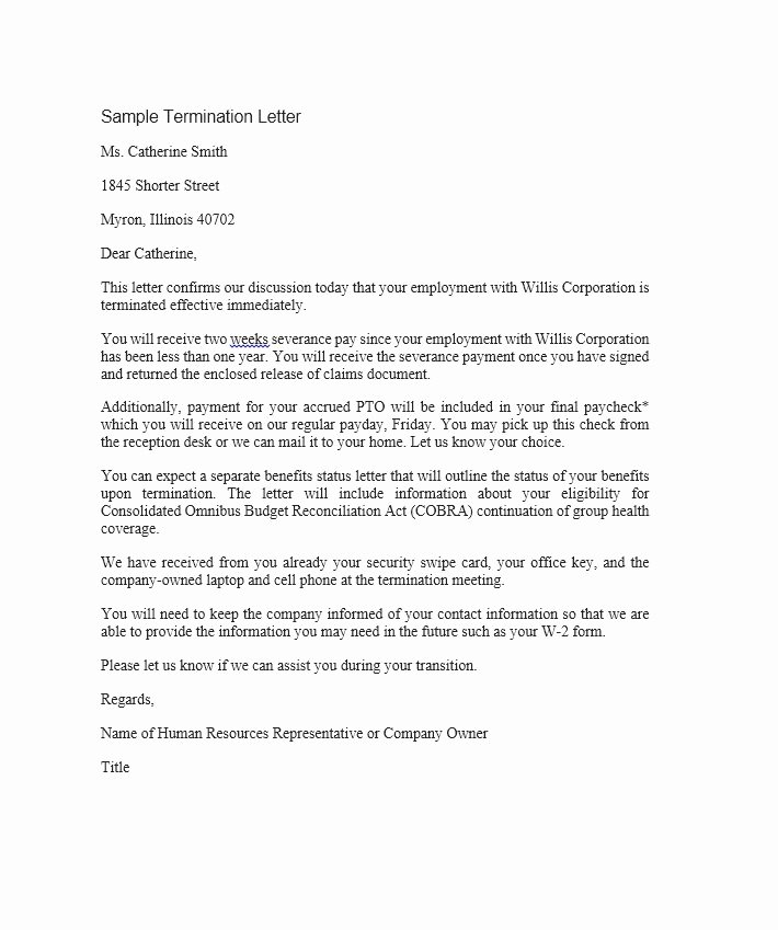 Sample Termination Of Employment Letter Elegant 35 Perfect Termination Letter Samples [lease Employee