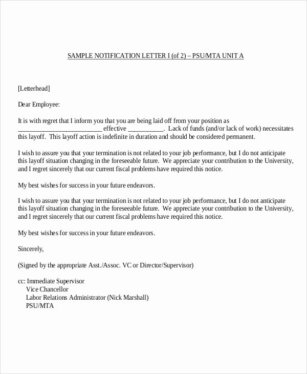 Sample Termination Of Employment Letter Elegant 9 Sample Employee Termination Letters Word Pdf Pages