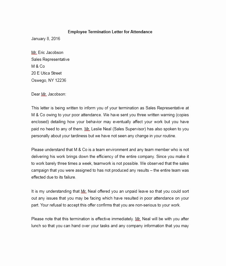 Sample Termination Of Employment Letter Inspirational 35 Perfect Termination Letter Samples [lease Employee