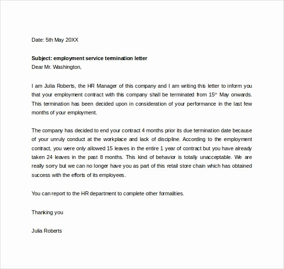 Sample Termination Of Employment Letter Inspirational Free 14 Termination Letters Templates In Doc