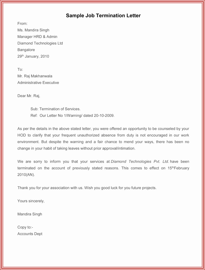 Sample Termination Of Employment Letter Lovely 7 Employment Termination Letter Samples to Write A
