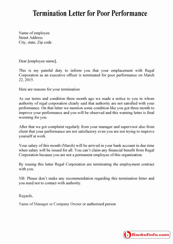 Sample Termination Of Employment Letter Lovely Sample Termination Letter for Poor Performance