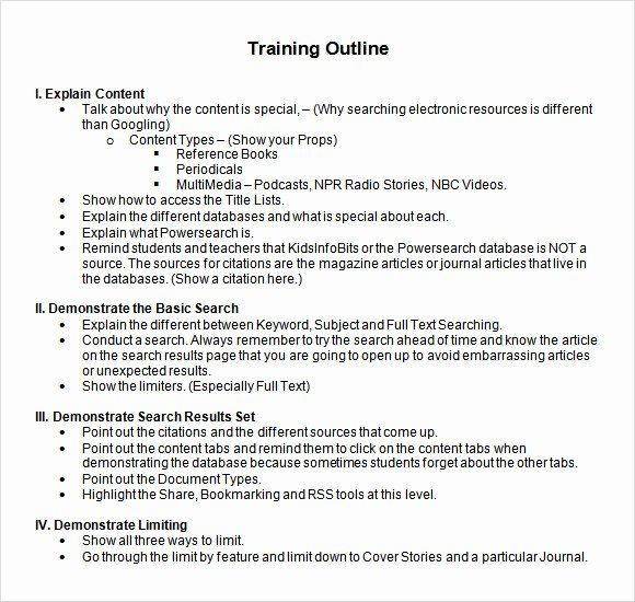 Sample Training Plan Outline Fresh Free 7 Amazing Training Outline Templates In Pdf