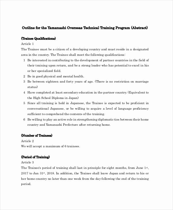 Sample Training Plan Outline Inspirational 11 Training Outline Templates Pdf Word Apple Pages