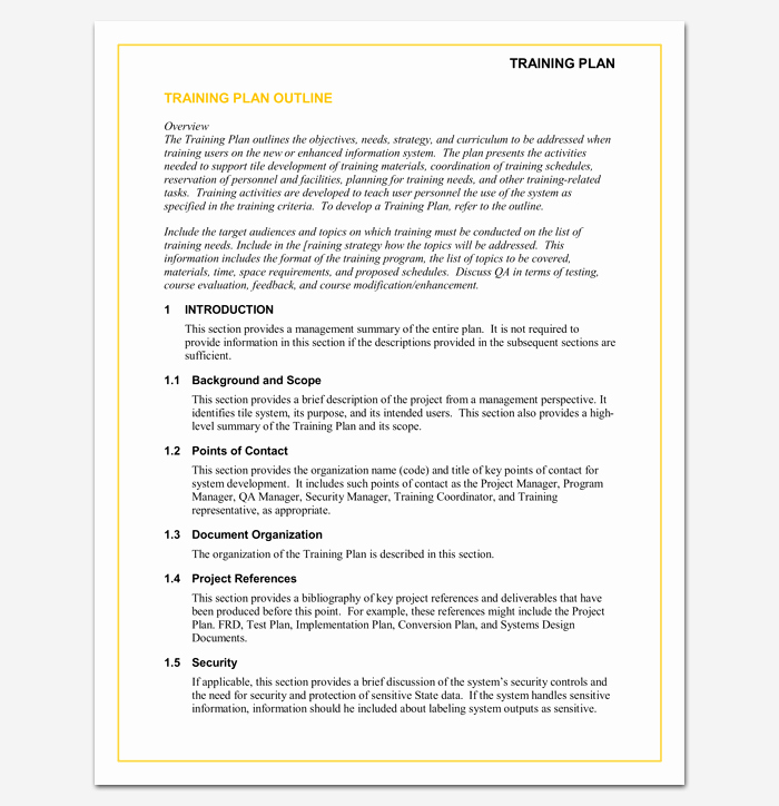 Sample Training Plan Outline Unique Training Program Outline Template 19 for Word & Pdf