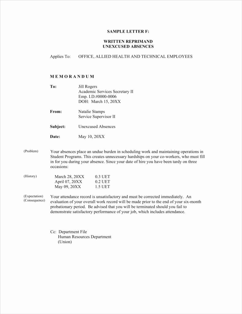 Sample Warning Letter for Absenteeism Awesome 10 Absence Warning Letter Templates