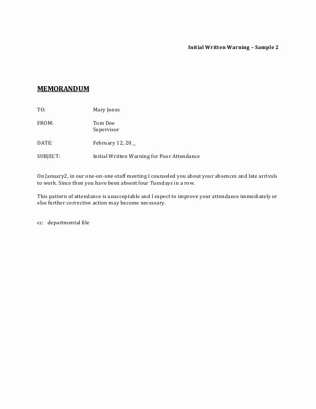 Sample Warning Letter for Absenteeism Beautiful Corrective Action