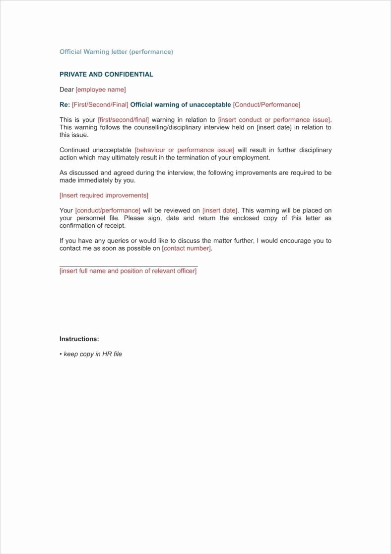 Sample Warning Letter for Absenteeism Inspirational Warning Letter Template for Absenteeism