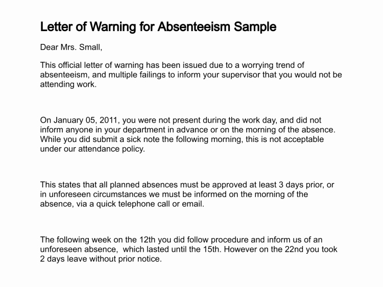 Sample Warning Letter for Absenteeism Lovely Letter Of Warning