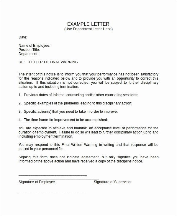 Sample Warning Letter for Absenteeism New Sample Warning Letter to Employee for Absence