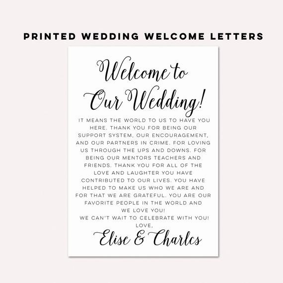 Sample Wedding Welcome Letter Awesome Wedding Wel E Letterswedding Itinerarieswedding by