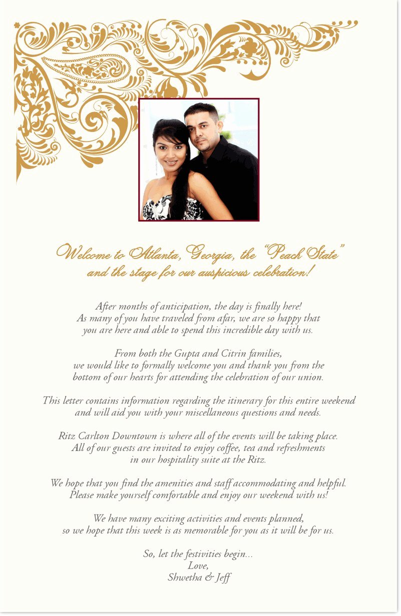 Sample Wedding Welcome Letter Beautiful Indian Wedding Wel E Letter