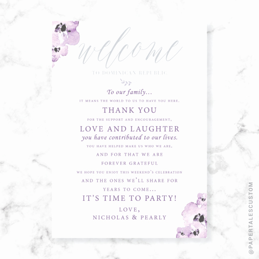Sample Wedding Welcome Letter Best Of Lavender Florals Wel E Letter – Papertales Custom