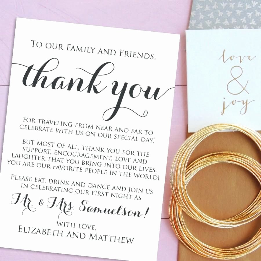 Sample Wedding Welcome Letter Elegant Simple Thank You Cards for Wedding 2017