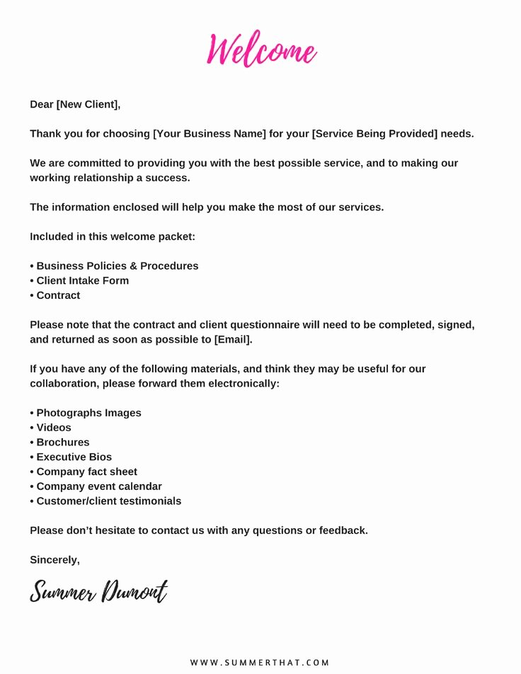 Sample Wedding Welcome Letter Fresh Virtual assistant Wel E Packet and Contract