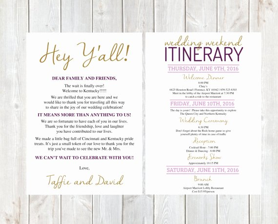 Sample Wedding Welcome Letter Fresh Wel E Letter Wedding Wel E Letter Wedding Itinerary