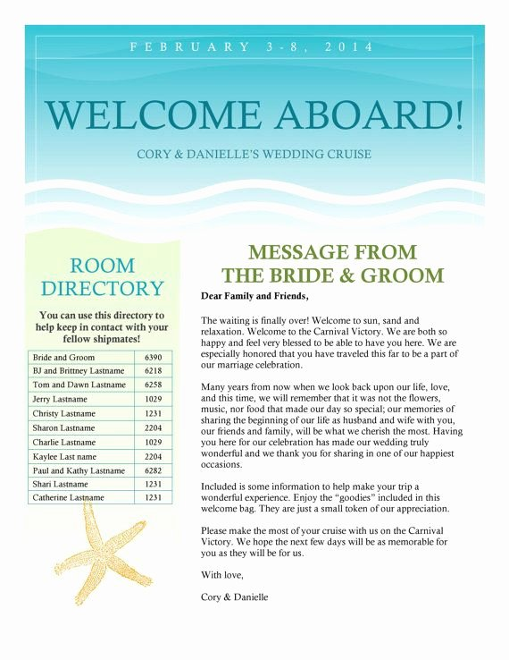 Sample Wedding Welcome Letter Luxury Cruise Wedding Wel E Letter Newsletter by