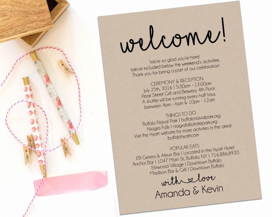 Sample Wedding Welcome Letter Luxury Wedding Wel E Bag Itinerary Template