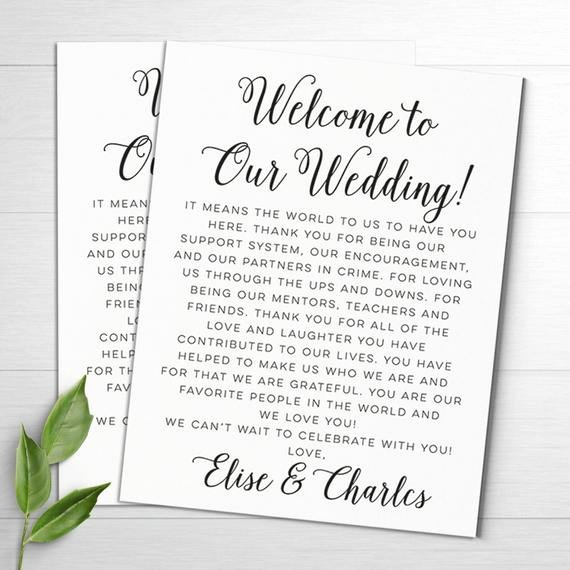 Sample Wedding Welcome Letter Luxury Wedding Wel E Letters Wedding Itineraries Wedding Wel E