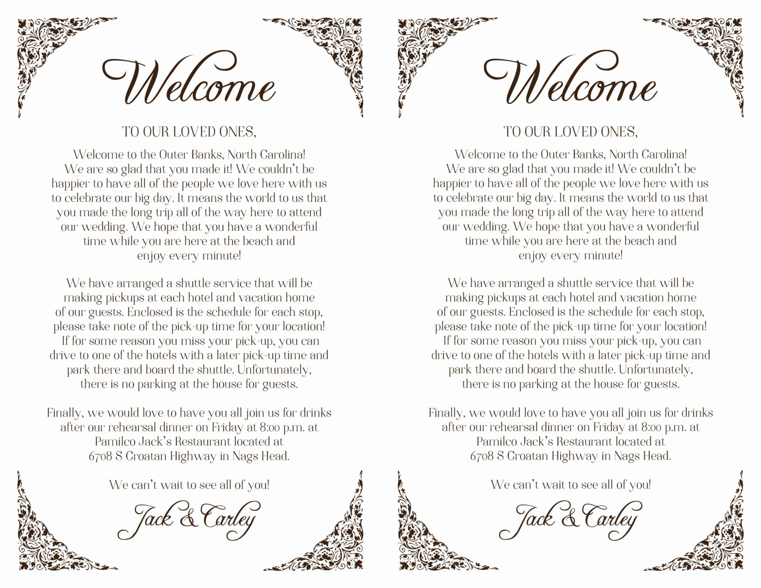 Sample Wedding Welcome Letter New Custom Wedding Wel E Letter Floral Border Printable Diy