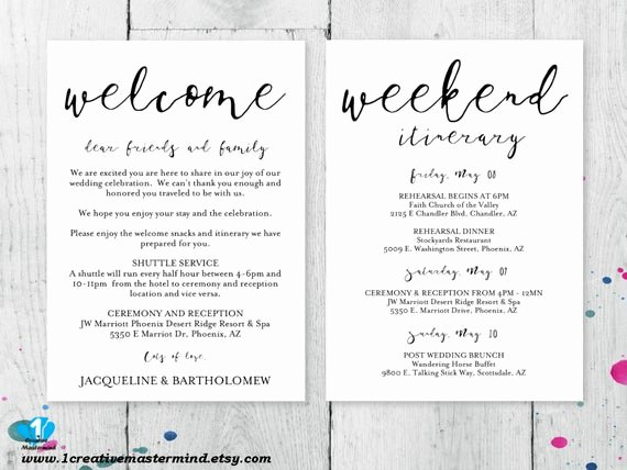 Sample Wedding Welcome Letter Unique Diy Wedding Wel E Bag Note Wel E Bag Letter Printable