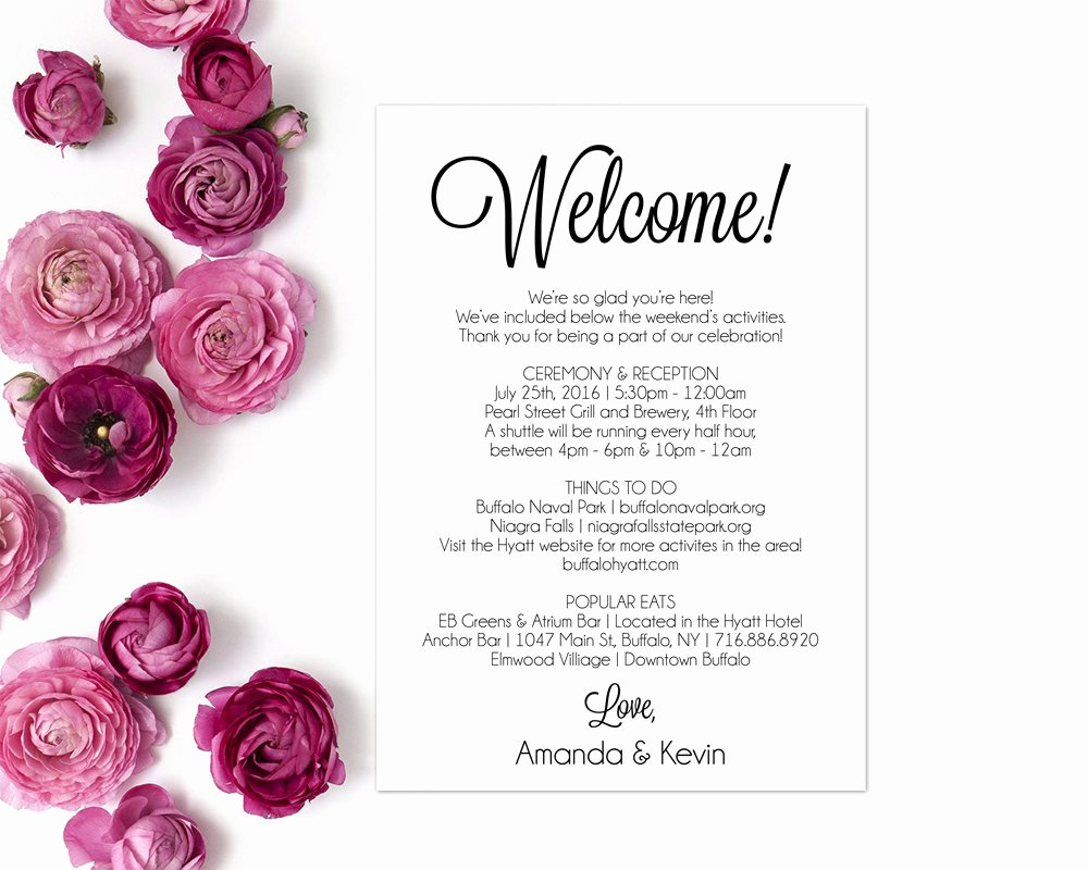 Sample Wedding Welcome Letter Unique Itinerary Wedding Wel E Letter Wedding Itinerary Editable