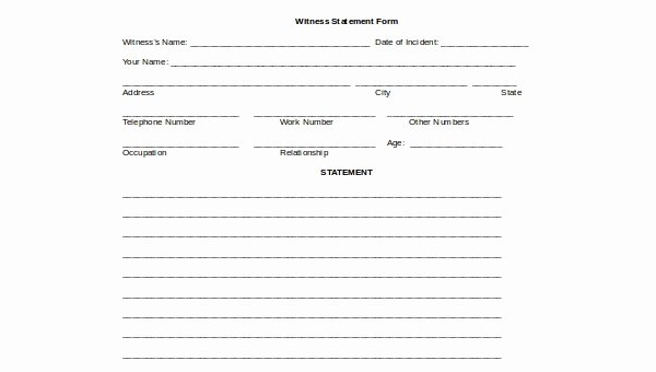 Sample Witness Statement form Beautiful Witness Statement form Samples 9 Free Documents In Word