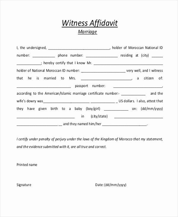 Sample Witness Statement form Best Of Sample Witness Affidavit form 8 Free Documents In Pdf Doc