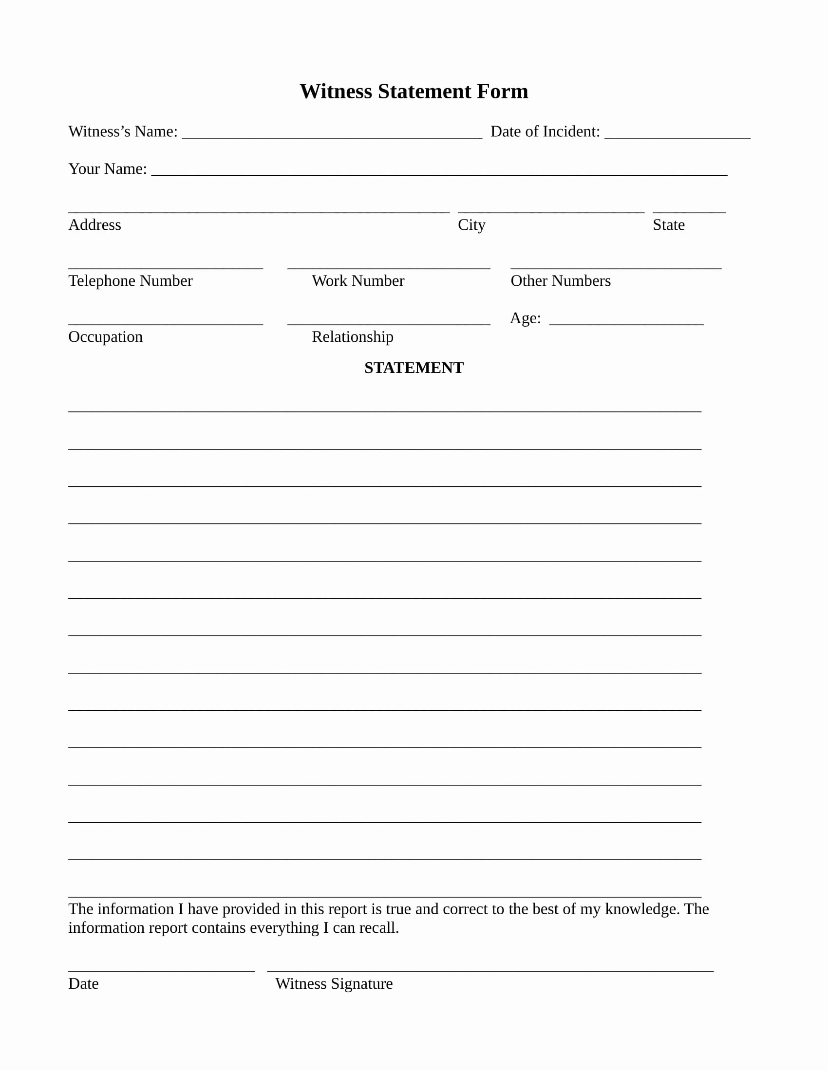 Sample Witness Statement form Elegant Free 14 Employee Witness Statement forms In Word
