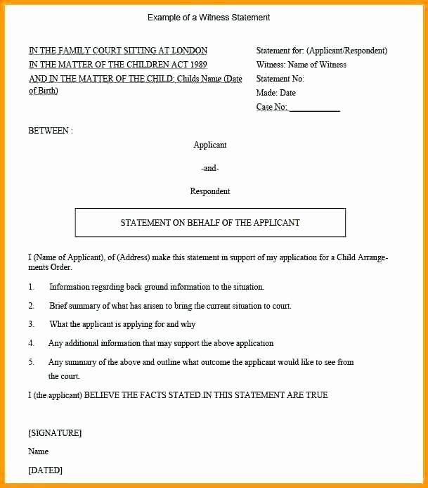 Sample Witness Statement form Fresh Sample Witness Affidavit form