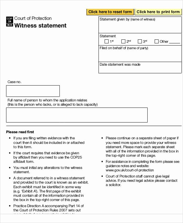 Sample Witness Statement form Fresh Statement form