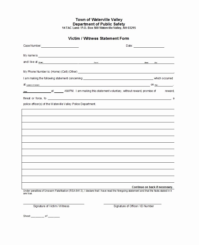 Sample Witness Statement form Inspirational 50 Professional Witness Statement forms & Templates