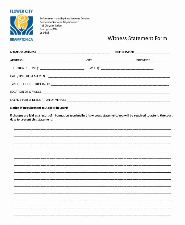 Sample Witness Statement form Lovely Statement form Examples